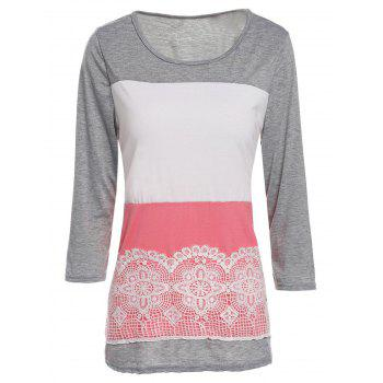 Stylish Women's Scoop Neck 3/4 Sleeve Lace Splicing Color Block T-Shirt