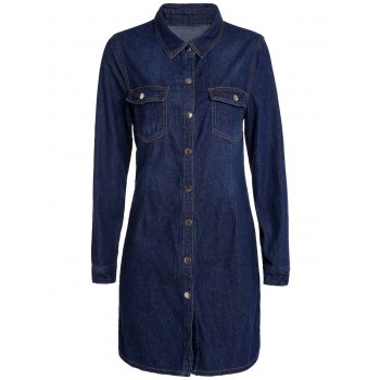 Elegant Shirt Collar Solid Color Long Sleeve Sheathy Denim Dress For Women - PURPLISH BLUE M