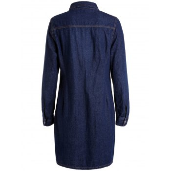 Elegant Shirt Collar Solid Color Long Sleeve Sheathy Denim Dress For Women - PURPLISH BLUE PURPLISH BLUE