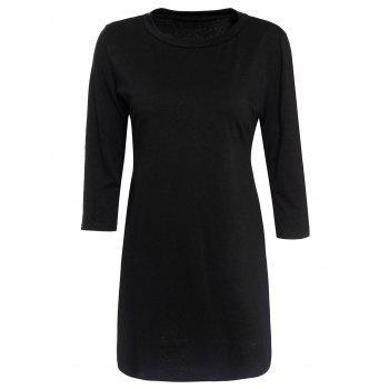 Sexy Scoop Neck 3/4 Sleeve Asymemtrical Pure Color Women's Dress