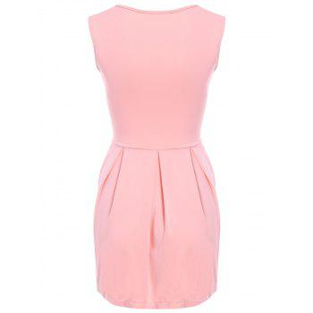 Sweet Solid Color Sleeveless Pleated Mini Dress For Women - M M