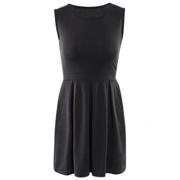 Sweet Solid Color Sleeveless Pleated Mini Dress For Women