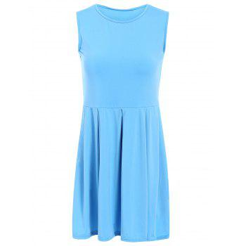 Sweet Solid Color Sleeveless Pleated Mini Dress For Women - LAKE BLUE M
