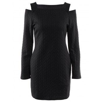 Stylish Long Sleeve Round Neck Solid Color Cut Out Women's Sweater Dress
