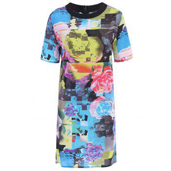 Stylish Round Neck Short Sleeve Floral Print Colored Women's Dress