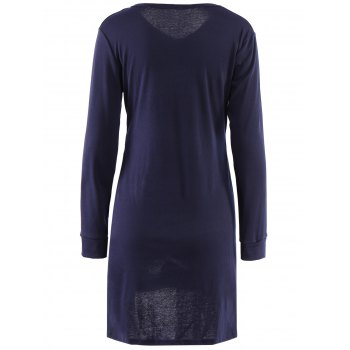 Simple Candy Color V-Neck Pockets Design Long Sleeve T-Shirt For Women - NAVY BLUE M