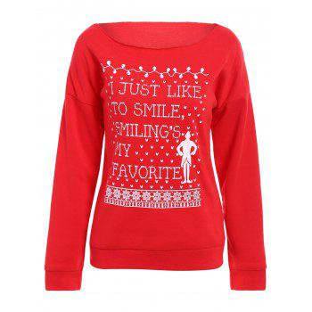 Fashionable Scoop Neck Letter and Snowflake Printed Christmas Sweatshirt For Women
