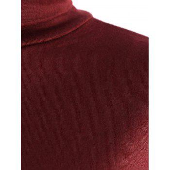 Graceful Solid Color Turtleneck Long Sleeve Slit Knitted Pencil Dress For Women - WINE RED XL