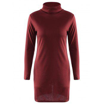 Graceful Solid Color Turtleneck Long Sleeve Slit Knitted Pencil Dress For Women