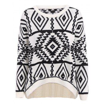 Stylish Round Collar Long Sleeve Asymmetrical Geometric Women's Sweater