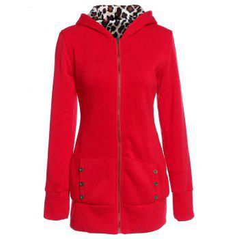 Attractive Hooded Inside Leopard Printed Thick Hoodie For Women - RED RED