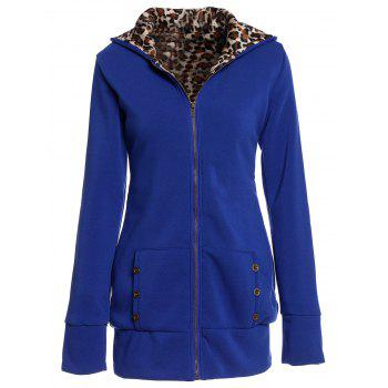 Attractive Hooded Inside Leopard Printed Thick Hoodie For Women - SAPPHIRE BLUE M