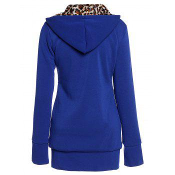 Attractive Hooded Inside Leopard Printed Thick Hoodie For Women - SAPPHIRE BLUE XL