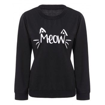 Casual Letter Print Scoop Neck Long Sleeve Sweatshirt For Women