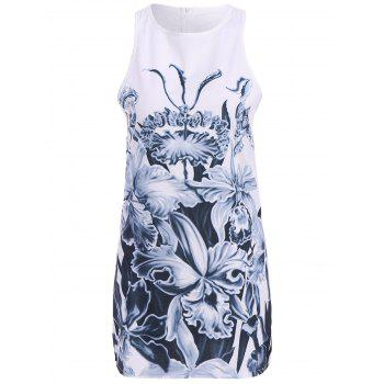 Casual Floral Printed Round Neck Sleeveless Dress For Women - S S