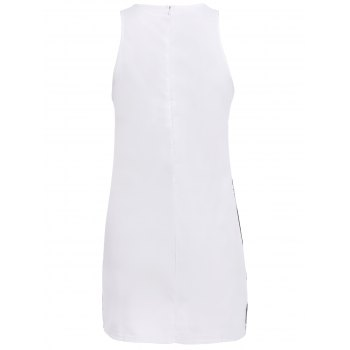 Casual Floral Printed Round Neck Sleeveless Dress For Women - WHITE WHITE