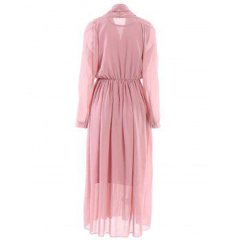Stylish V-Neck Long Sleeve Chiffon Women's Maxi Dress - M M