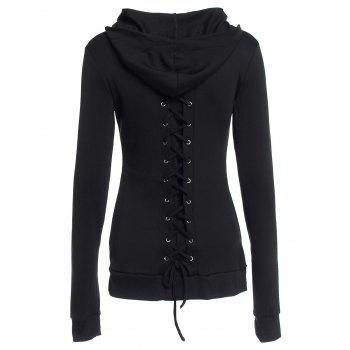Stylish Black Lace-Up Back Long Sleeves Women's Hoodie - BLACK L