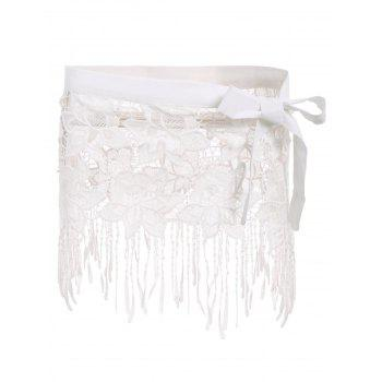 Sexy White Lace Hollow Out Tassels Women's Swim Skirt - WHITE WHITE