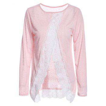 Stylish Women's Scoop Neck Long Sleeve Back Slit Lace Splicing T-Shirt
