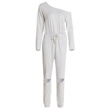Concise Long Sleeve Waist Tied Cut Out Gray Jumpsuit For Women