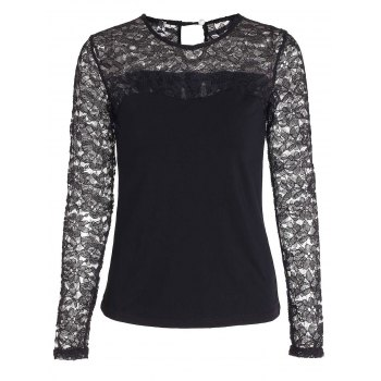 Chic Jewel Neck Long Sleeve Black Lace Embellished Hollow Out Women's T-Shirt