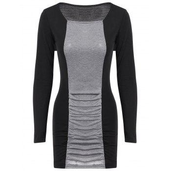Casual Women's Square Neck Long Sleeves Color Splicing Pleated Dress - AS THE PICTURE M