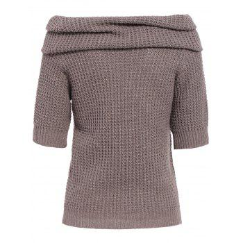 Chic 3/4 Sleeve Pocket Design Pure Color Women's Sweater - KHAKI S