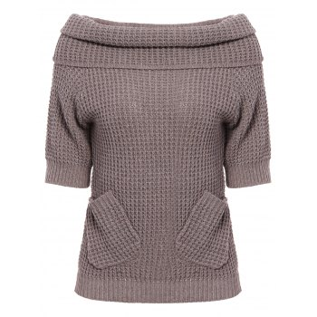 Chic 3/4 Sleeve Pocket Design Pure Color Women's Sweater