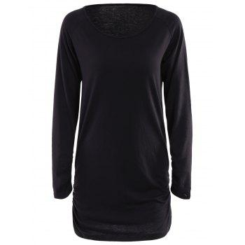 Chic Scoop Collar Long Sleeves Ruffled Pure Color Women's T-Shirt - BLACK BLACK