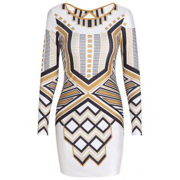 Stylish Round Collar Long Sleeve Backless Slimming Striped Women's Dress