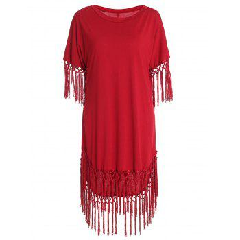 Women's Chic Short Sleeve Red Scoop Neck Fringed Dress
