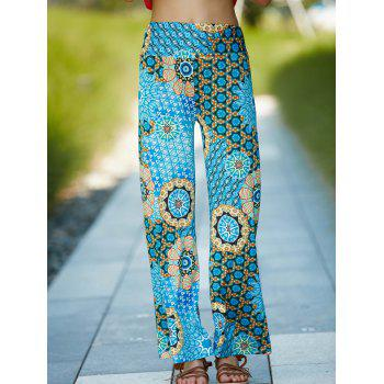 Vintage Geometric Printed Elastic Waist Wide-Leg Pants For Women