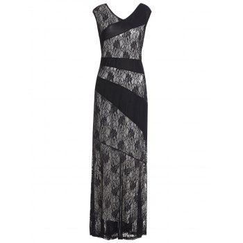 Sleeveless Spliced Plus Size Women's Lace Dress