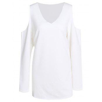 Sweet Women's V-Neck White Long Sleeve Sweatshirt