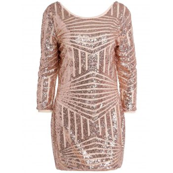 Sexy Backless 3/4 Sleeve Shining Sequined Bodycon Dress For Women