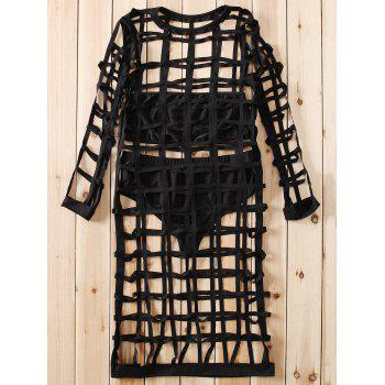 Alluring Round Collar 3/4 Sleeve Hollow Out Dress + Tube Top + Briefs Women's Three Piece Suit