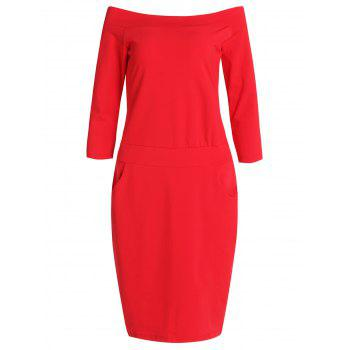 Elegant Women's Off The Shoulder Solid Color 3/4 Sleeve Dress