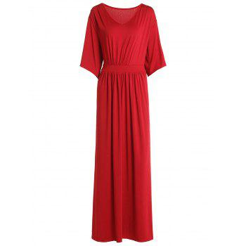 Women's Chic V-Neck Bat Sleeve Pure Color Plus Size Dress