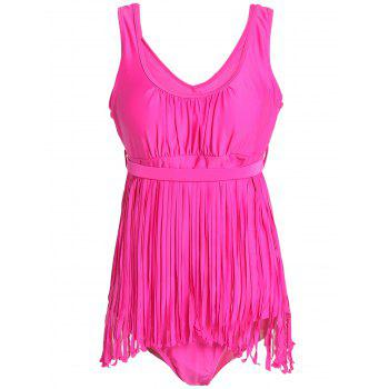 Scoop Neck Sleeveless Fringed Solid Color Women's Swimwear - ROSE 4XL