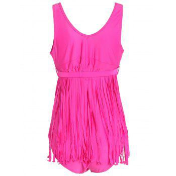 Scoop Neck Sleeveless Fringed Solid Color Women's Swimwear - ROSE ROSE