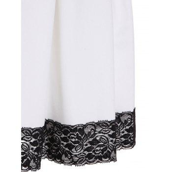 Fashionable Jewel Neck Sleeveless Lace Hem Pleated Dress For Women - WHITE WHITE
