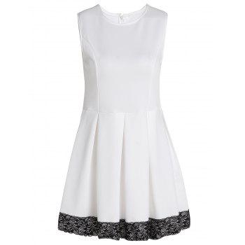 Fashionable Jewel Neck Sleeveless Lace Hem Pleated Dress For Women - WHITE M
