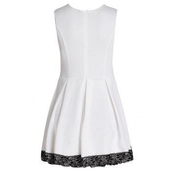 Fashionable Jewel Neck Sleeveless Lace Hem Pleated Dress For Women - M M