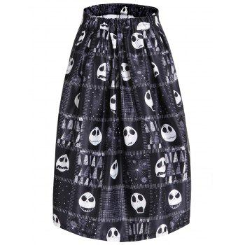 Women's Chic Skulls High Waist A-Line Skirt - BLACK BLACK