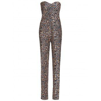 Sexy Strapless Leopard Print Bodycon Jumpsuit For Women
