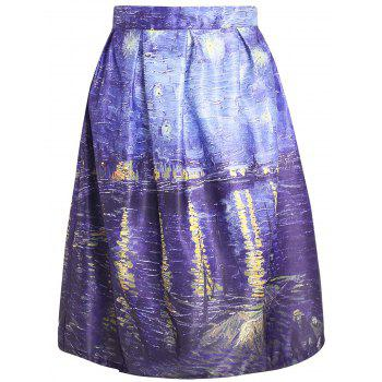 Women's Stylish Pleated Print High Waist A-Line Skirt
