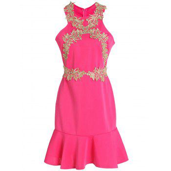Chic Jewel Neck Sleeveless Golden Lacework Embellished Women's Dress - ROSE L