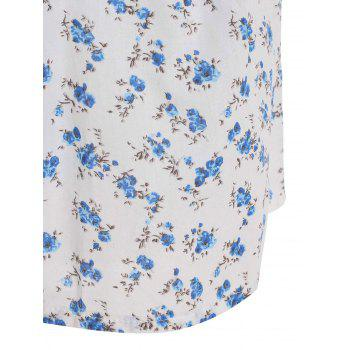 Cute Women's Round Collar Tiny Floral Print Short Sleeve Dress - WHITE S