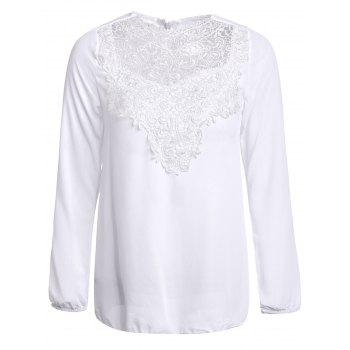 Simple Round Collar Solid Color See-Through Women's Long Sleeve Blouse